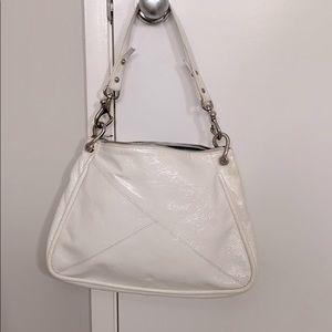 Christopher Kon white patent leather bag